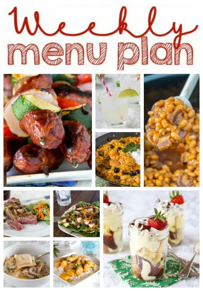 Weekly Meal Plan Week 154 - Make the week easy with this delicious meal plan. 6 dinner recipes, 1 side dish, 1 dessert, and 1 fun cocktail make for a tasty week!