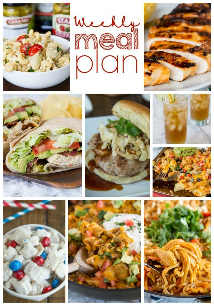 Weekly Meal Plan Week 157 - Make the week easy with this delicious meal plan. 6 dinner recipes, 1 side dish, 1 dessert, and 1 fun cocktail make for a tasty week!