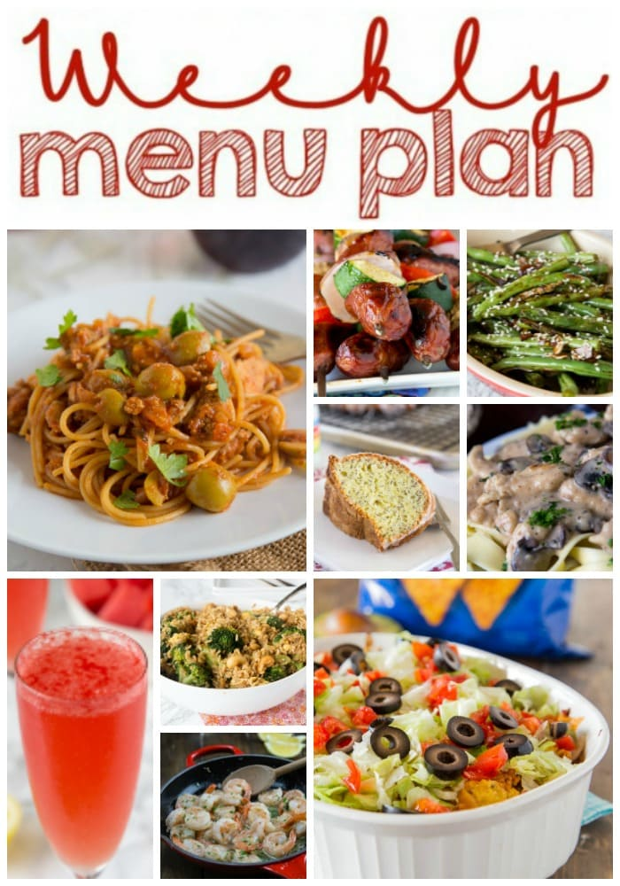 Weekly Meal Plan Week 164 - Make the week easy with this delicious meal plan. 6 dinner recipes, 1 side dish, 1 dessert, and 1 fun cocktail make for a tasty week!