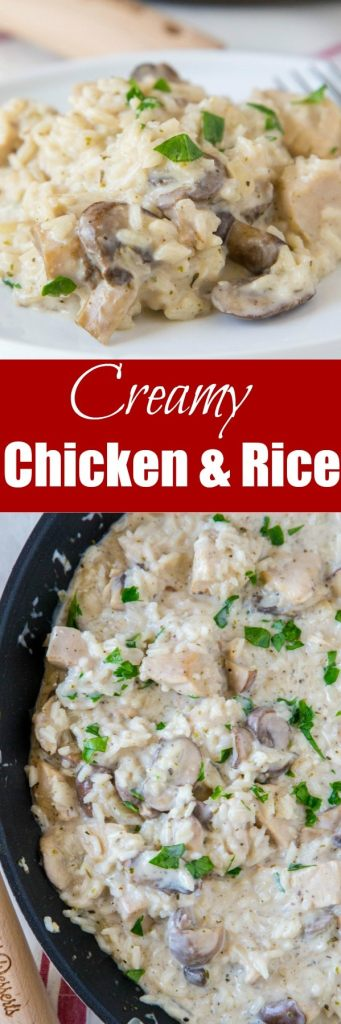 Stovetop Creamy Chicken and Rice - Tender chicken and mushroom with creamy rice in an easy one pan dinner. So easy and great for busy nights.