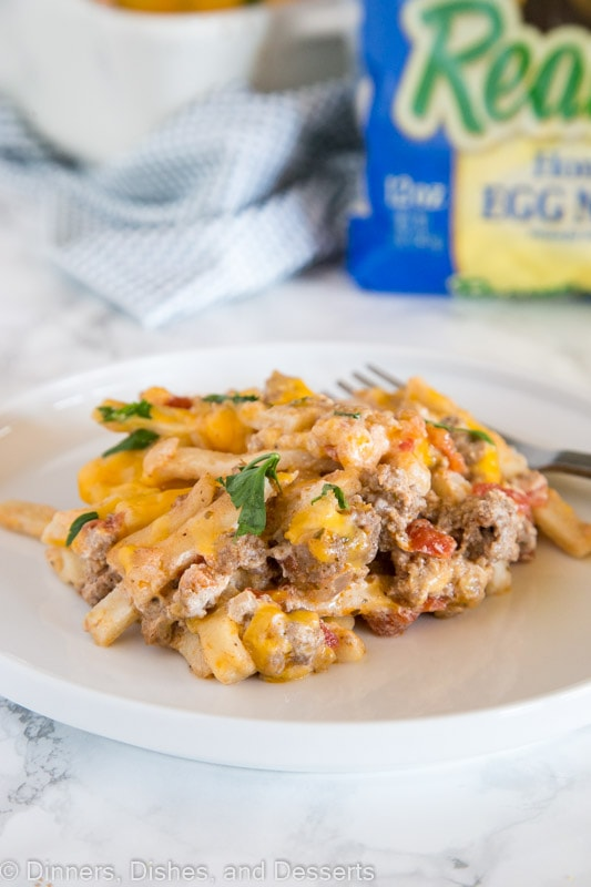 Beef Noodle Casserole - ground beef casserole with noodles, tomatoes and cheese.  Pure comfort food that is super easy to make!