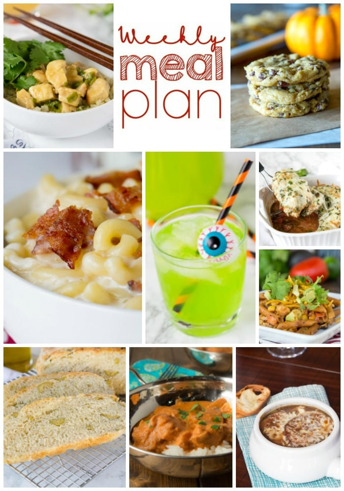 Weekly Meal Plan Week 172 - Make the week easy with this delicious meal plan. 6 dinner recipes, 1 side dish, 1 dessert, and 1 fun cocktail make for a tasty week!