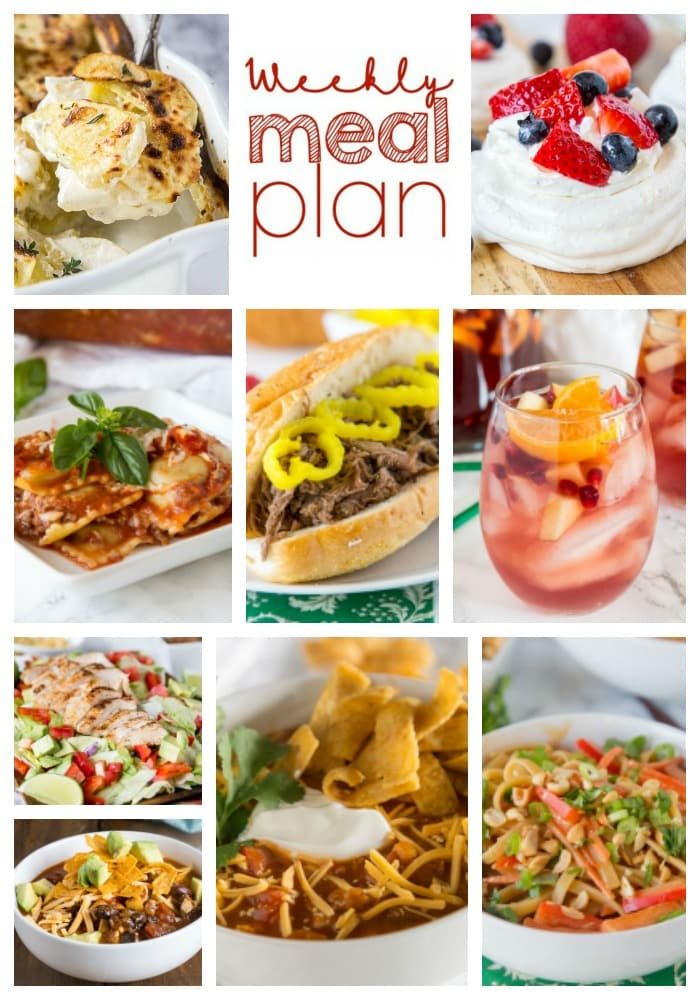 Weekly Meal Plan Week 181 - Make the week easy with this delicious meal plan. 6 dinner recipes, 1 side dish, 1 dessert, and 1 fun cocktail make for a tasty week!