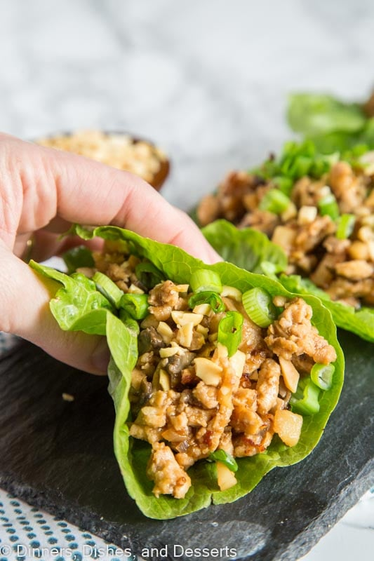Chicken Lettuce Wraps - Healthy Asian lettuce wraps there are better than PF Changs!  So good, so easy, and they make a great weeknight meal!