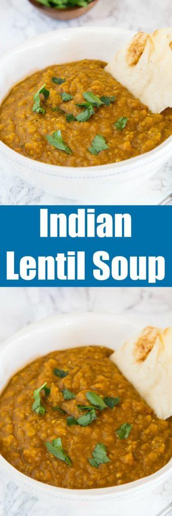 close up of indian lentil soup in a bowl