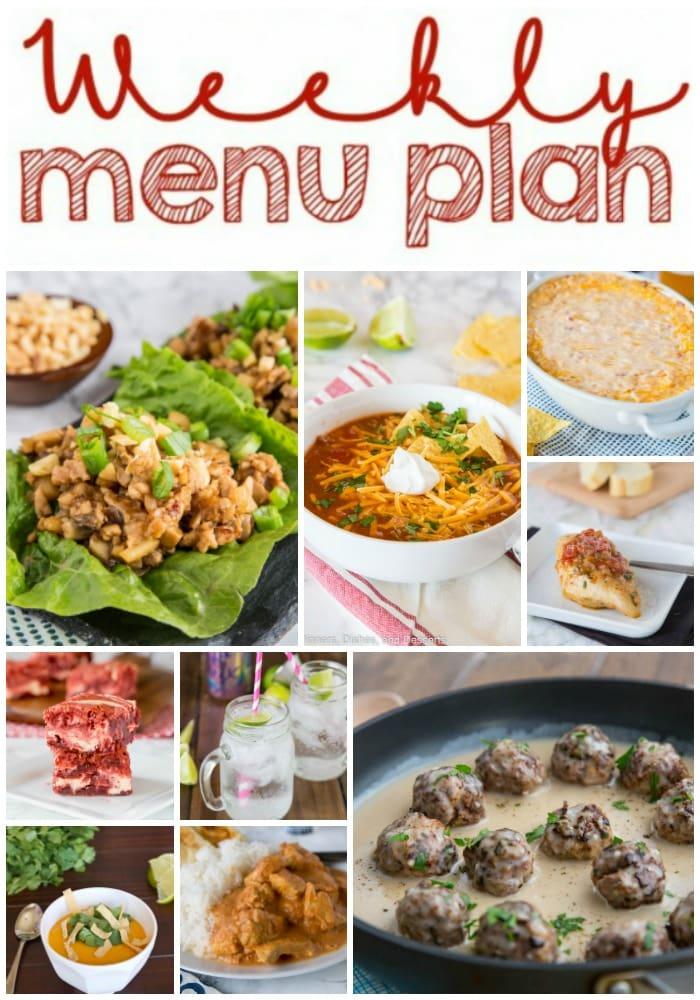 Weekly Meal Plan Week 186- Make the week easy with this delicious meal plan. 6 dinner recipes, 1 side dish, 1 dessert, and 1 fun cocktail make for a tasty week!