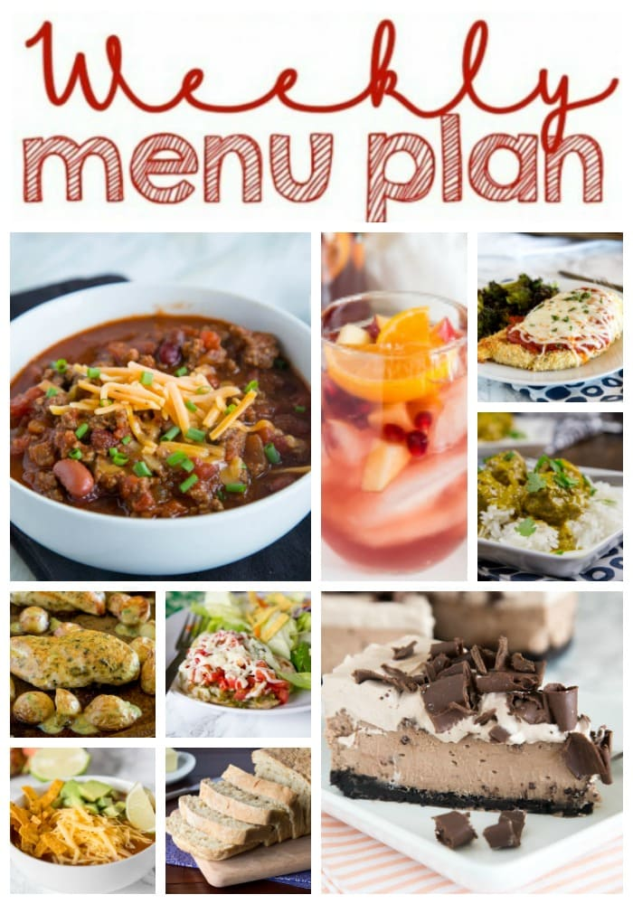 Weekly Meal Plan Week 191- Make the week easy with this delicious meal plan. 6 dinner recipes, 1 side dish, 1 dessert, and 1 fun cocktail make for a tasty week!