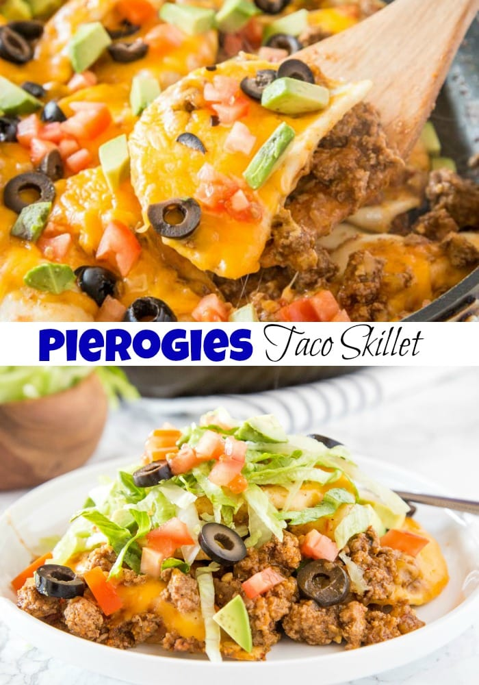 Pierogies Taco Skillet - Cheese filled pierogies get a Mexican twist with taco meat, salsa, and plenty of cheese!  Great weeknight meal that is ready in no time.