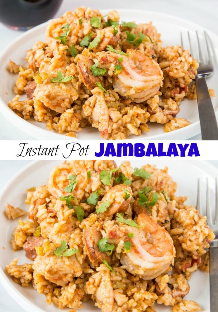 Instant Pot Jambalaya - make jambalaya with chicken, sausage and shrimp in the pressure cooker!  Ready quickly and super easy to make.