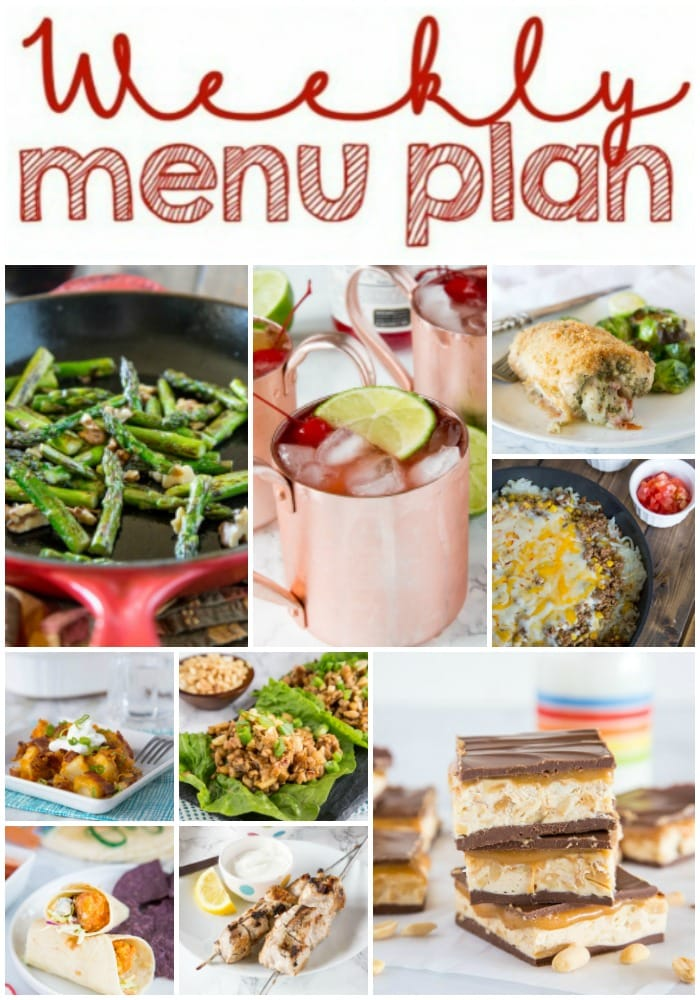 Weekly Meal Plan Week 198- Make the week easy with this delicious meal plan. 6 dinner recipes, 1 side dish, 1 dessert, and 1 fun cocktail make for a tasty week!