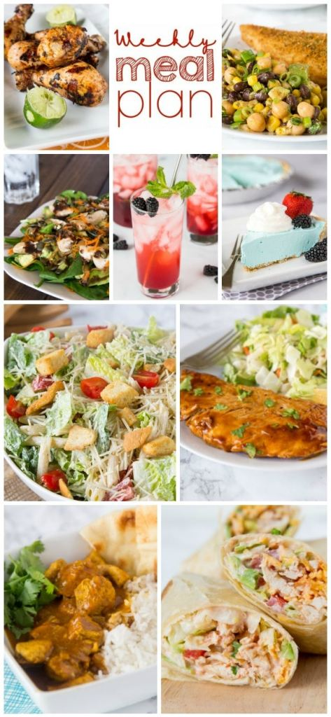 Weekly Meal Plan Week 205- Make the week easy with this delicious meal plan. 6 dinner recipes, 1 side dish, 1 dessert, and 1 fun cocktail make for a tasty week!