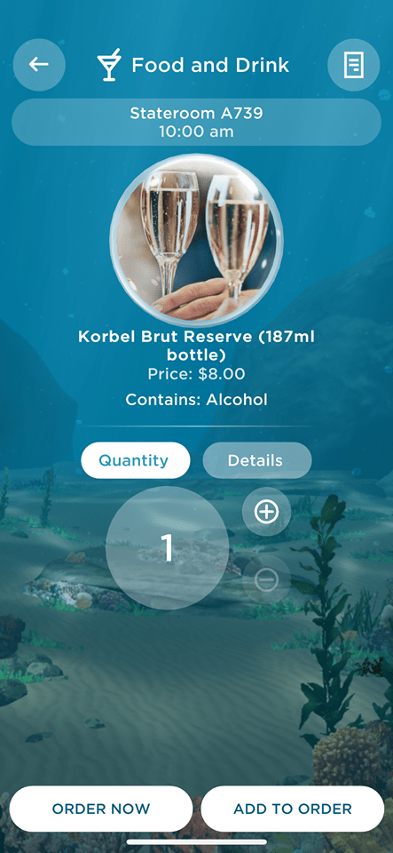 Ocean Medallion App ordering drinks