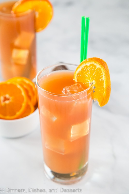sex on the beach drink recipe with bowl of orange slices