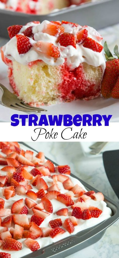 Strawberry Jello poke cake pin collage