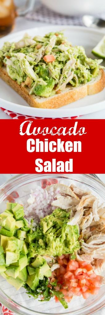 Avocado Chicken Salad - Take chicken salad to a new level with avocado! It is naturally creamy without any mayo or sour cream. Great for quick lunches, easy dinners and even picnics!