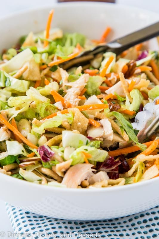 Oriental Chicken Salad with romain lettuce, cabbage, carrots, wonton strips, chicken, almonds and an Asian dressing