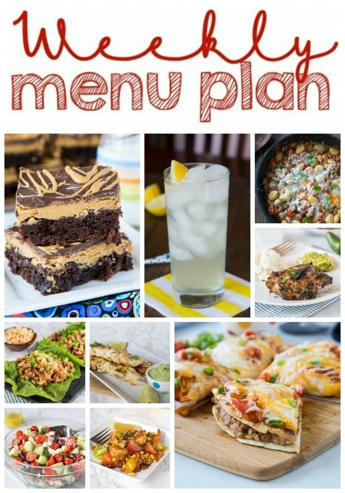 Weekly Meal Plan Week 215- Make the week easy with this delicious meal plan. 6 dinner recipes, 1 side dish, 1 dessert, and 1 fun cocktail make for a tasty week!