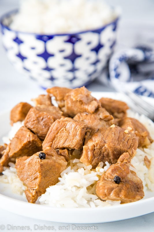 Super tender chunks of pork cooked in soy sauce, vinegar, garlic, and peppercorns is Filipino style Pork Adobo