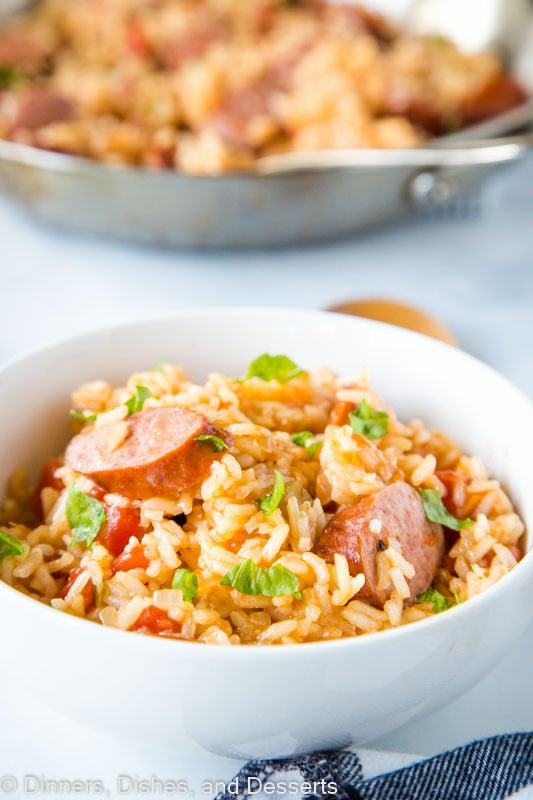 Smoked Sausage and rice come together in a one skillet dinner that is full of flavor and great for weeknight dinners