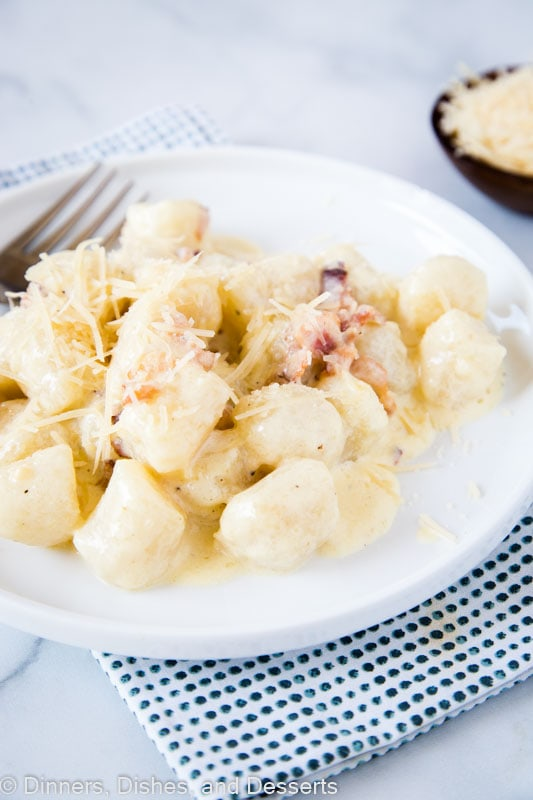 Use cauliflower gnocchi to make this Gnocchi Carbonara easy and healthy.
