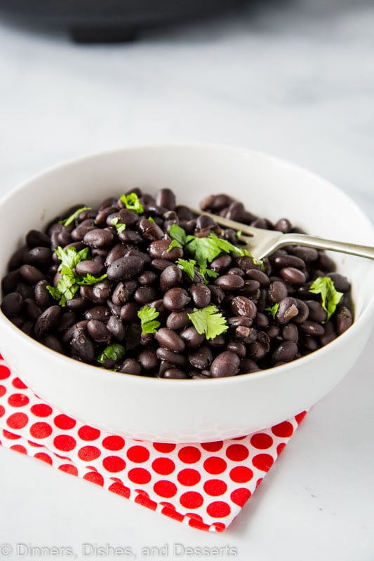 Use dried beans in the crock pot to make the best side dish! Slow Cooker Black Beans are quick and easy.