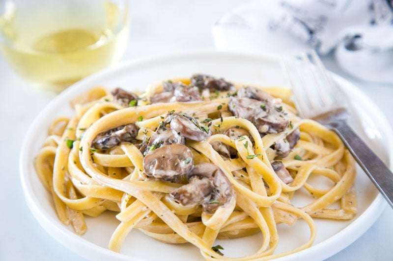 Creamy Mushroom Pasta - a luscious and creamy mushroom sauce tossed with pasta. Ready in just minutes so it is perfect for busy weeknights!
