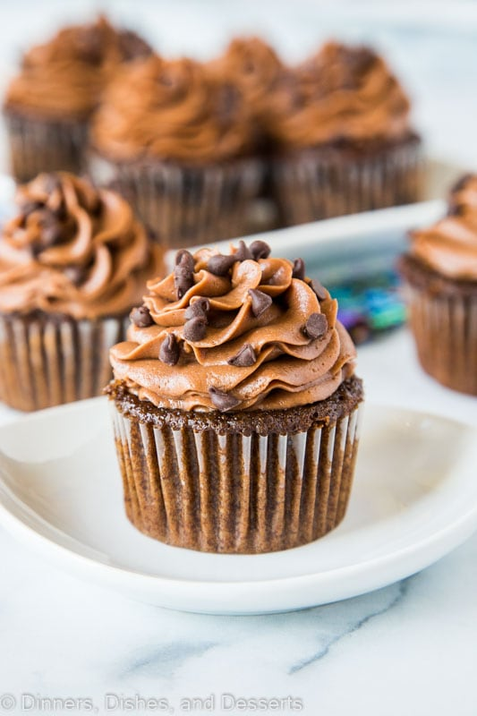 Double Chocolate Cupcakes that are super moist and tender