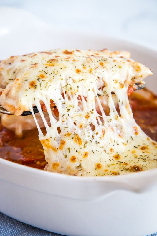Tomato Baked Chicken with gooey melty cheese