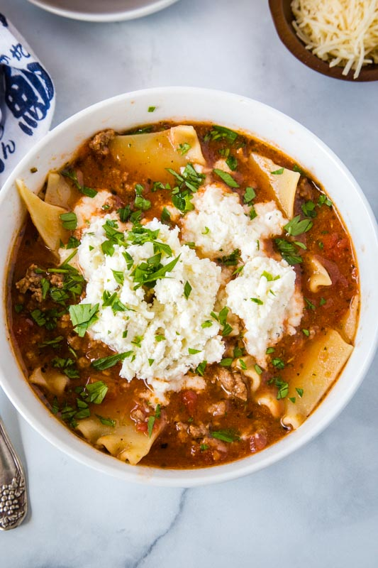 Lasagna soup has all the taste of classic lasagna in a hearty soup you can enjoy any night of the week!