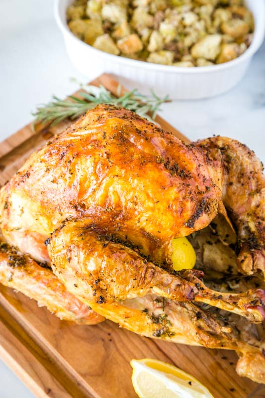 Perfect Roasted Turkey with fresh herbs and a crispy skin