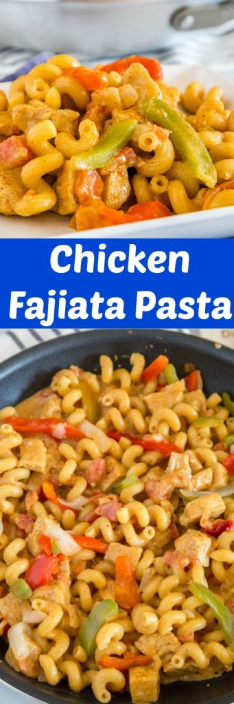 Creamy Chicken Fajita Pasta - A perfectly quick and easy weeknight dinner.  Everything cooks together and is ready in just minutes.  Super creamy, cheese, full of lots of flavor and fresh veggies.