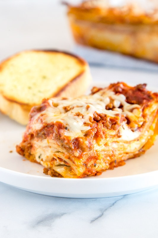 Classic lasagna with ricotta that is cheesy and delicious