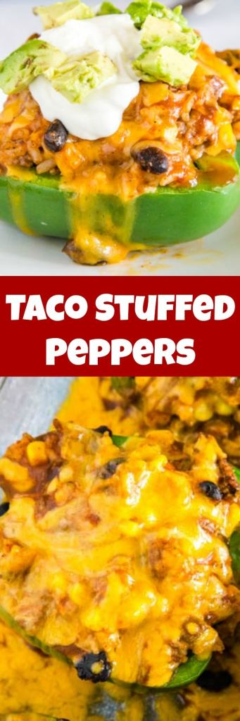 Easy Taco Stuffed Peppers - these Mexican stuffed peppers are a fun twist on a classic!  Taco meat, black beans, corn, salsa and more.  If you love taco night these are going to be a huge hit!