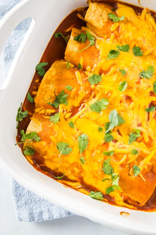 Cheesy and delicious beef enchiladas that are great to freeze and make ahead for dinner.