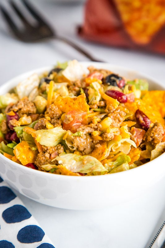 Dorito Taco Salad is a great dinner, lunch or even potluck recipe