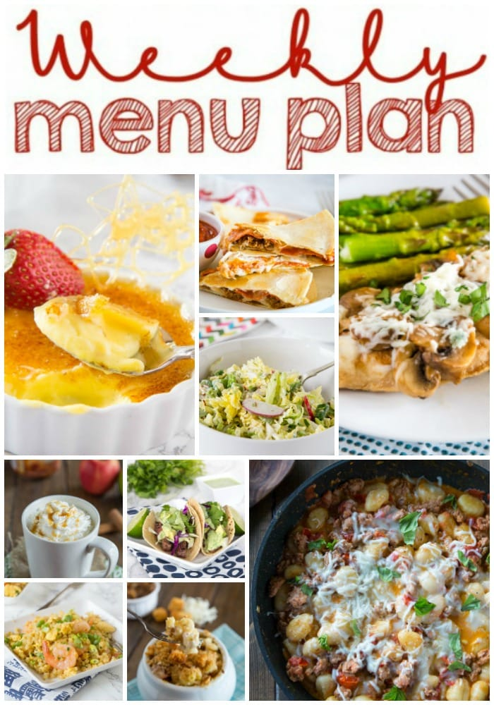 Weekly Meal Plan Week 241- Make the week easy with this delicious meal plan. 6 dinner recipes, 1 side dish, 1 dessert, and 1 fun cocktail make for a tasty week!