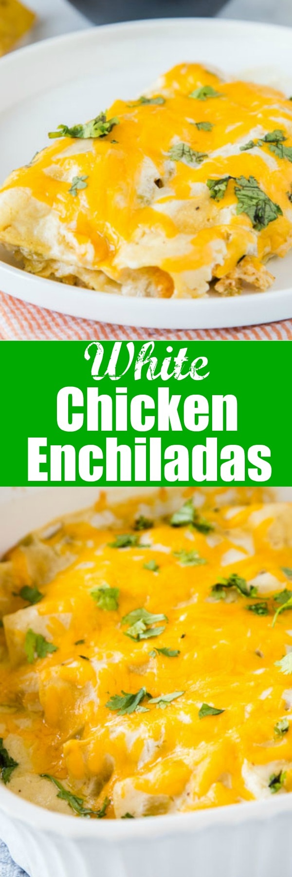 White Chicken Enchiladas - super easy sour cream chicken enchiladas that are made with lots of creamy and tangy sour cream for a delicious white sauce. They are cheesy, full of flavor and great for dinner anytime!