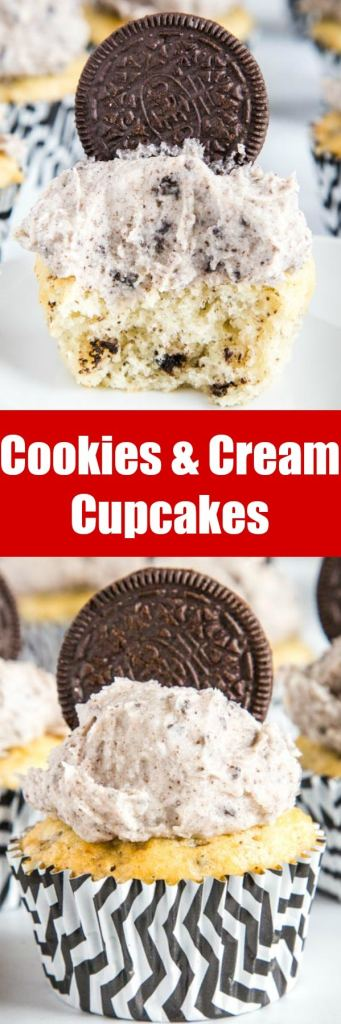 Cookies and Cream Cupcakes - The best Oreo Cupcakes!  A moist vanilla cupcake with crushed Oreos inside and then topped with a delicious Oreo buttercream frosting.  If you like cookies and cream these are definitely for you!