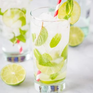 mojito in a glass with straw