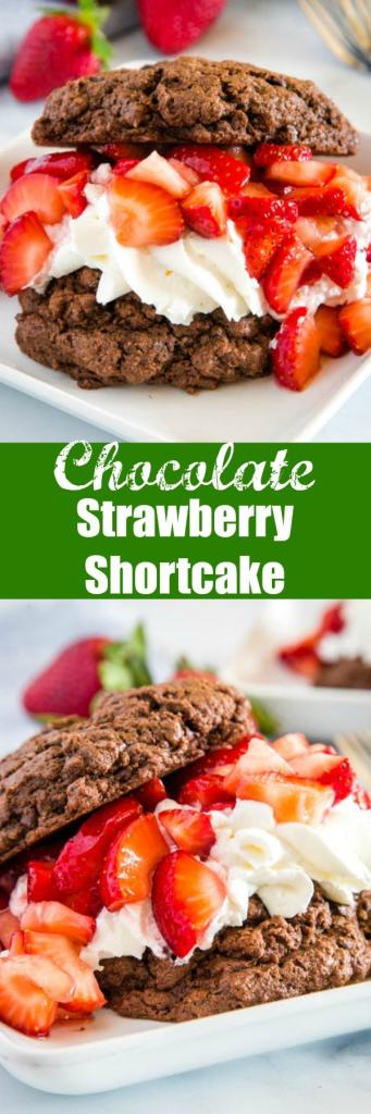 Chocolate Strawberry Shortcake - Turn the classic strawberry shortcake into a chocolate dessert with these chocolate biscuits as the base.  Topped with homemade whipped cream and lots of fresh strawberries for an over the top dessert!
