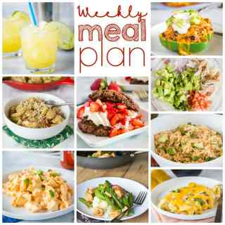 Weekly Meal Plan Week 251- Make the week easy with this delicious meal plan. 6 dinner recipes, 1 side dish, 1 dessert, and 1 fun cocktail make for a tasty week!
