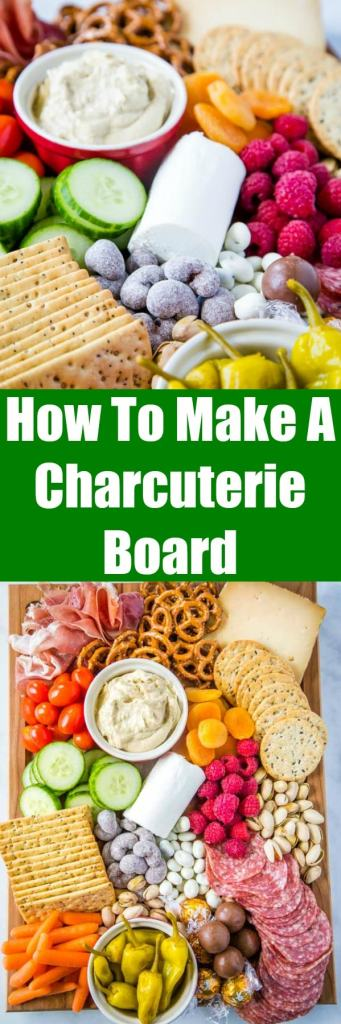 How To Make A Charcuterie Board - the perfect way to have a quick and easy snack board for all day grazing or entertaining!  Create a board full of your favorite meats, cheeses, nuts, dried fruit and more.