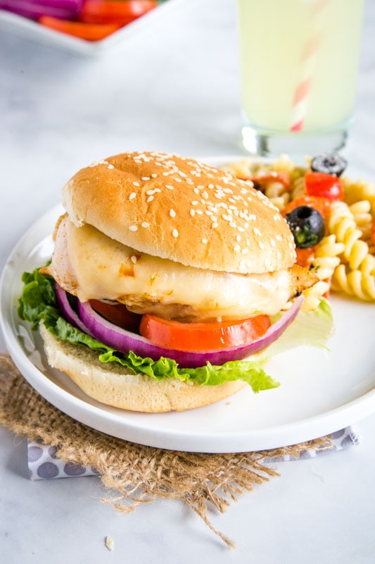 chicken sandwich on a bun with cheese and tomatoes