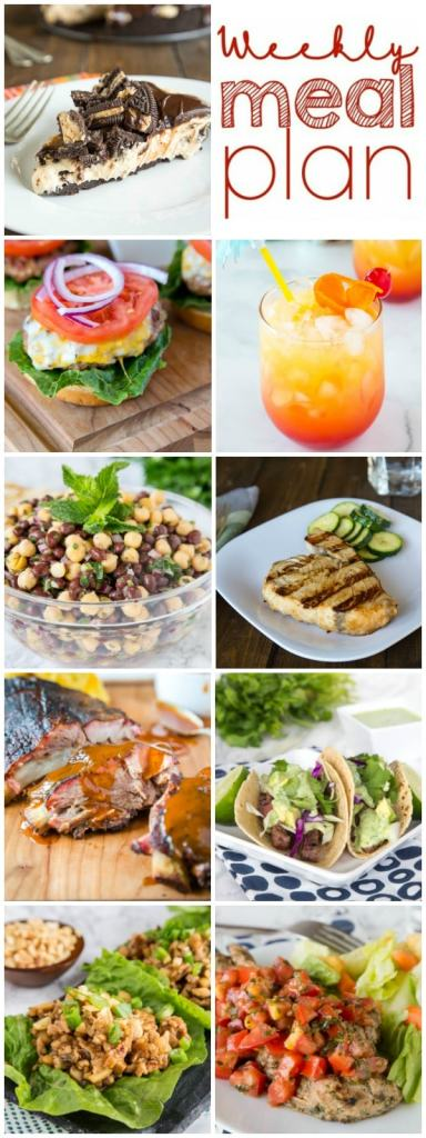 Weekly Meal Plan Week 258- Make the week easy with this delicious meal plan. 6 dinner recipes, 1 side dish, 1 dessert, and 1 fun cocktail make for a tasty week!