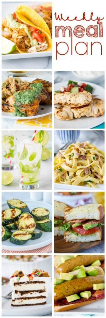 Weekly Meal Plan Week 261- Make the week easy with this delicious meal plan. 6 dinner recipes, 1 side dish, 1 dessert, and 1 fun cocktail make for a tasty week!