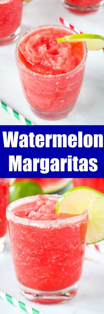 Watermelon Margaritas - Use fresh summer watermelon to make these fruit and delicious margaritas! Great for entertaining or just because. Recipe for both frozen and on the rocks included!