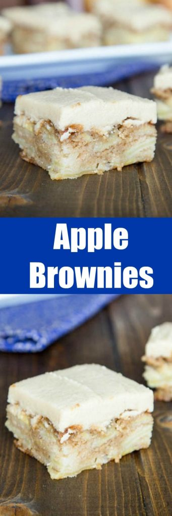 Apple Brownies - Blonde brownies full of real pieces of apple and baked until golden brown.  Topped with a Cinnamon Brown Sugar Frosting to make them the perfect fall treat!