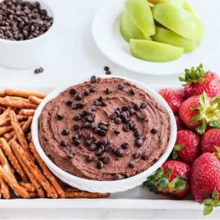 Chocolate Hummus - creamy, rich, chocolate-y and down right addicting! This healthy snack tastes like brownie batter and will become a staple in your kitchen!
