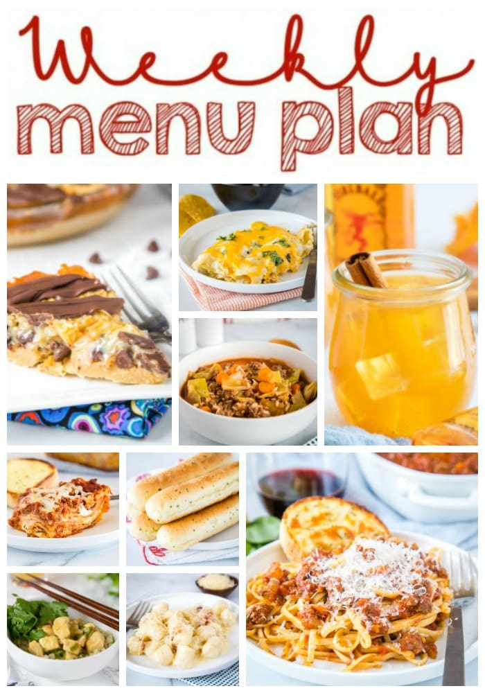Weekly Meal Plan Week 272 - Make the week easy with this delicious meal plan. 6 dinner recipes, 1 side dish, 1 dessert, and 1 fun cocktail make for a tasty week!