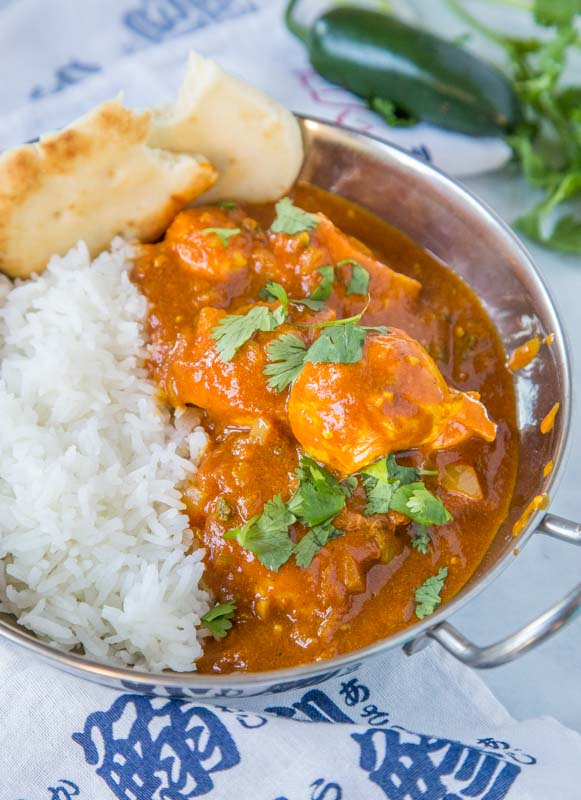 chicken vindaloo in a bowl with rice
